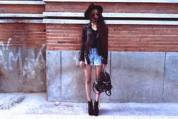 Vu Thien - H&M Leather Jacket, Levi's® Vintage Levi's Shorts, Thrift Store Backpack, Jeffrey Campbell Shoes - BIKER JACKET