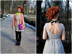 Paura B - Zara Dress, No Name Blazer, No Name Wellingtons, Diy Clutch - In March as in pot!