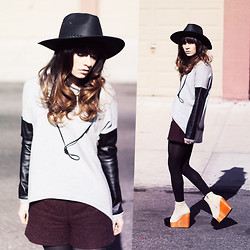 Rachel-Marie Iwanyszyn - Bailey Black Leather Hat, Love Leather Sweatshirt, Topshop Wool Shorts, Minimarket Wooden Wedges, Http://Www.Jaglever.Com - IF TIME WAS FOR WASTING.