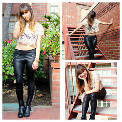 Kayla Barr - Forever 21 Lace Crop Top, Silence + Noise Faux Leather Leggings, Dolce Vita Booties, Michael Kors Rose Gold Watch - Gods & Monsters