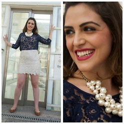 Meital David-pur - Zara Pearl Necklace, Gucci Flats - Lace & Pearls