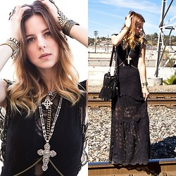 Michelle Madsen - Nightcap Clothing Dress, Vanessa Mooney Jewelry, Nasty Gal Bag - LACE MAXI