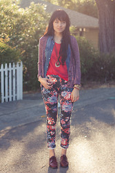 Danielle Payton - Madewell Cardigan, Romwe Denim Button Up, American Apparel Sheer Tee, Asos Floral Jeans, Vintage Shoes - Sprouts.