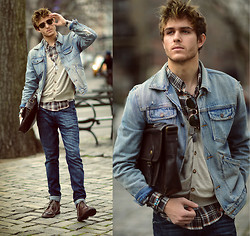 Adam Gallagher - Similar Here  > Jacket, Plaid, Sungalsses, Boots - Wild Wild West (VOTE ME TO COACHELLA!)