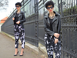 Borjana R. - Sheinside Jacket, Oasap Sunglasses, Rockpapermetal Necklace, Zara Pants - Cow print