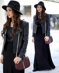 Daniela Ramirez - Furor Moda Black Maxi Skirt, Oasap Quilted Pleather Jacket, Danielle Nicole Burgundy Cross Body Bag, Oasap Wide Brim Hat - Quilted...