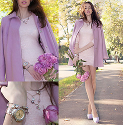 Tanya Petrova - Esprit Necklace, Asos Rose Coat, Tfnc London Rose Dress, Asos Lilac Shoes, Fossil Rose Watches - ROSE DREAMS