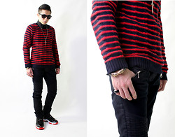 Gray Kuo - Jordan Xi Bred, Balmain Waxed Biker Jeans, Forever 21 Forever21 Braclet, Versace H&M For Shirt, Zara Sweater - Black and Red