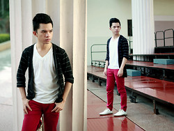 Evelio Barion - Bench Tee, Cardigan, Black Sheep Red Pants - School boy