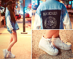 ▲▼ Asyluminica ▲▼ - Punk X Pretty Ramones Denim Jacket, Casio Silver Watch, Topshop Denim Shorts, Androgyne Manila Cap, Jeffrey Campbell Homg Platform Sneakers - ♋ Night Stalker ☽