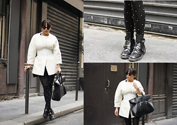 Vanessa Perroud - Zara Coat, Wolford Tights, Balenciaga Boots, Wolford Belt, 3.1 Phillip Lim Bag, Cutler & Gross Sunnies - PFW - Dress Coat