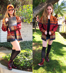 Christina Oliva - Kauai Hat, Vintage Patterned Jacket, Knee Highs - Patterned Jacket x Parsons