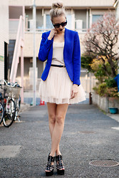 Martina M. - Chic Wish Ballerina Dress, H&M Blazer, Urban Outfitters Wedges - Electric Blue