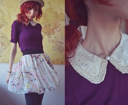 Neno Neno - Peter Pan Collar, Ebay Flowy Skirt, New York & Company Mid  Purple Shirt - Symbol In My Driveway