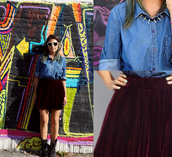 MariiFer Ponce - Spike, Velvte Skirt, Denim Blouse, Combat Boots - U are everything im not