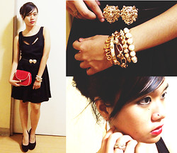 Erika R. - Cotton On Black Cutout Dress, Forever 21 Gold Bracelets, Forever 21 Dangling Earrings, Call It Spring Black Pumps, Anagon Personalized Gold Bracelet - We are Golden