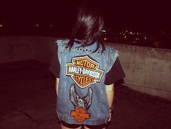 Rokaia MAB - Diy Harley Davidson Denim Vest - Welcome To The Jungle We Take It Day By Day