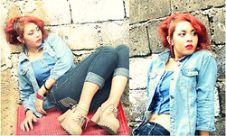 Star Camacho - Levi's® Denim Jacket, Denim Pants, Calvin Klein Hanging Denim Tank, Coco Blair Dont Know What Style It Is - 3 shades of denim