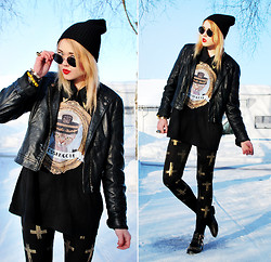 Paula Ilona Viktoria - H&M Beanie, H&M Sunnies, 2nd Hand Leather Jacket, 2nd Hand Blouse With Golden Tips, Gossengold Oversized Sailor Cat T Shirt, Necessary Clothing Cross Leggings, Random Store In Milan Shoes - POWER, CORRUPTION & LIES.