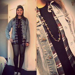 Kayla-Joleen D. - Primark Necklace, Vintage Denim Jacket, New Look Bodycon Dress, Mans Shirt - It was acceptable in the 90s