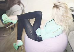 Alissa L - Privileged Gold And Mint Platform Pumps, Romwe Studded Mint Sweater, Michael Kors Cross Body Bag - Let's move on