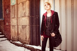 Jeannie Willis - Only Black Denim Jeans, H&M Black Leather Bag, H&M Wine Red Basic Top, H&M Wine Red Basic Hoodie, Black Denim Jacket, Black And Grey Patterned Top, Silver Chain Necklace, Silver Ring - This Djini is too angry to go back into her bottle again