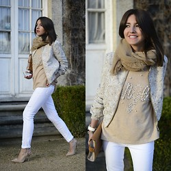 Alexandra Per - Asos Jacket, Preppy Purple Sweater, Mih Jeans, Zara Shoes, Zara Clutch, Storets Foulard - White & beige angel