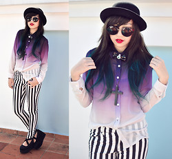 Andrea Ladstätter - H&M Black Bowler Hat, Topshop Round Sunglasses, Editor's Market Purple Gradient Top, H&M Striped Pants, Off Brand Ballerina Platforms - Carry on my wayward son