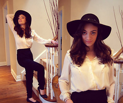 Raquel J - Tommy Hilfiger Concho Hat, Vintage Blouse, Talula High Waisted Harem Pants, Aldo Black Ballet Flats - Carry That Weight