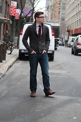 Ryan Charchian - 1901 Tie, J. Crew Button Down, Abercrombie & Fitch Cardigan, American Eagle Jeans, American Eagle Oxfords - Spring prep