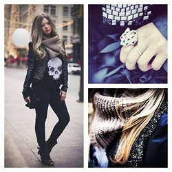 Cecily Richardson - Forever 21 Snood, Asos Cheetah Ring, Badgley Mischka Black Leather Jacket, Dolce Vita Booties, Nordstrom Flower Clutch - Flowers, Diamonds, & Skulls