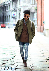 Jerome Centeno - Vintage Military Parka, Zara Checkered, Vintage Double Breasted, Zara Distressed Jeans - Urban Distressed