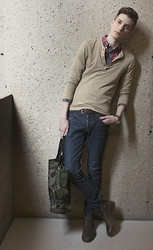 Andrew Eirich - H&M Henley, Club Monaco Plaid Shirt, H&M Jeans, Zara Leather Boots, Simons Camouflage Tote - Waiting.