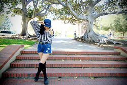 Hannah Chu - Supreme Navy 5 Panel Hat, Brandy Melville Usa Striped Sweater, Goodwill Belt, Levi's® Levi's, Urban Outfitters Thigh Highs, Yard Sale Work Shoes - Supremely Awesome