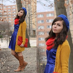 Lauren Pfieffer - Blue Beret, Mustard Cardigan, Red Infinity Scarf, Lulu*S Dress, Oasap Clutch, Riding Books - Building Blocks.