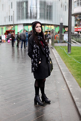 Karina Barulina - Religion Coat, Topshop Boots, Topshop Hat - Black Rainy Day