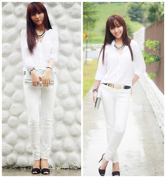 Belva P - Zara Top, Zara Pants, Zara Heels - Cool white