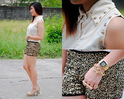 Cheska B - Three Wishes Top With Star Details, Sm Gtw Sequined Shorts, Casio Watch - Three Wishes