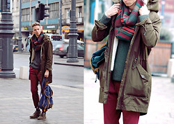 Chaby H. - H&M Parka, Zara Burgundy Trousers, Springfield Backpack - Parka with backpack