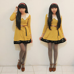Yunita Elisabeth - Mustard Mini Dress, Thrifted Skater Skirt, Adorable Project Wedges - Hello lookbook, long time no see