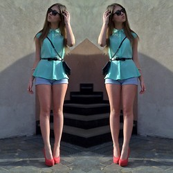 Jovana D. - Ray Ban Sunglasses, Zara Blouse, Six Bag, Accessorize Belt, New Yorker Shorts, Justfab Heels - Smell of the SPRING
