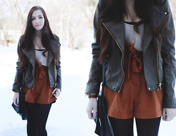 Breanne S. - Forever 21 Faux Leather Jacket, Romwe Orange Shorts - A Road Map