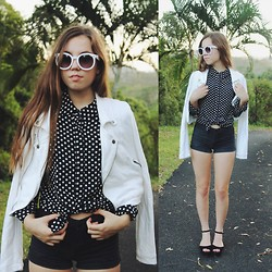 Isabella Wight - Popbasic Top, Target Jacket, Oasap Sunglasses, Jo Mercer Shoes, Sass And Bide Shorts - SEEING SPOTS