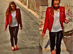 Diane P - Schott Perfecto, Mango Leather Pant, Repetto Ballerines - Red ---- @DianePerreau