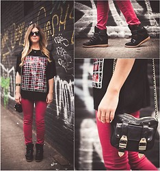 Cecily Richardson - Aldo Sneaky Wedgies, Rebecca Minkoff Bag, Asos Sequin T Shirt, Bdg Oxblood Denim, Zara Sunnies, Rory Ashton Necklace - So Sneaky