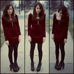 Alexis Nigro - Jeffrey Campbell Lita's, Candies Red Velvet Dress, Xsre Cross Hand Ring, Forever 21 Triangle Necklace - Red Velvet