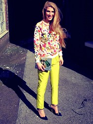 V F - Msgm Floral Sweater, Mawi Silver Jewellery Clutch, By Malene Birger Lime Trousers, Charlotte Olympia Stars And Moons - Flower Power