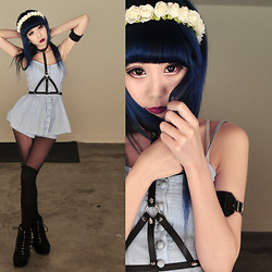 Essy Noir - Spinns Flower Headband, Arm Cuff, Urban Outfitters Romper, Creepyyeha Leather Harness, Jeffrey Campbell Spiked Litas - Feelin' Blue