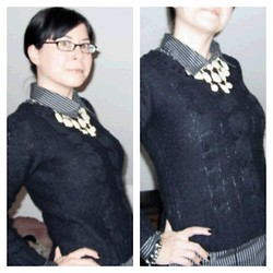 Nicole J. - H&M Necklace - White/gold statement-necklace