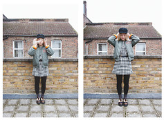 Hanna B - Rokit Shoes, Urban Outfitters Socks, H&M Dress, Rokit Jacket, Beyond Retro Hat - Become someone else's